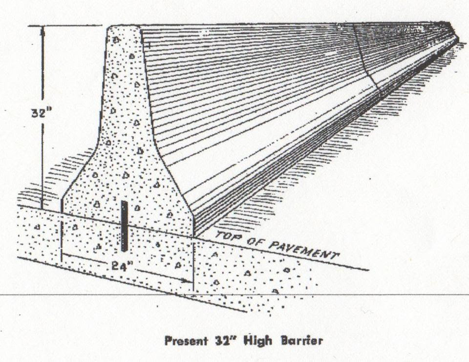 A schematic drawing provides a view of an early Jersey barrier, but offers no clues to the design's inventor.
