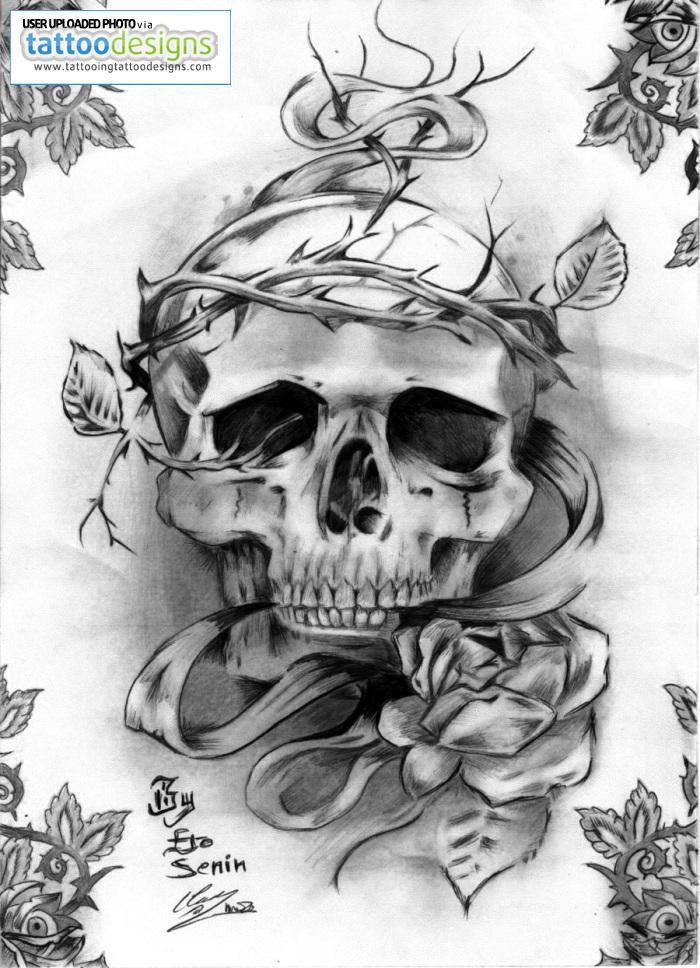Rose Flower And Skull Tattoo Design