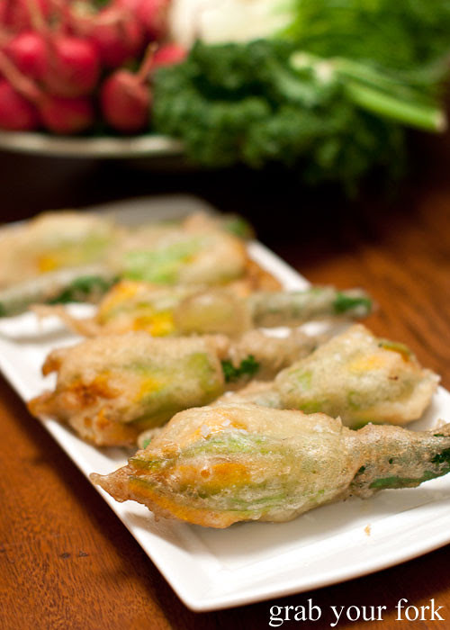 deep fried zucchini flowers with four cheeses at stomachs eleven dinner party christmas 2012