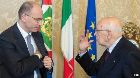 Italian PM Enrico Letta (left) and President Giorgio Napolitano. File photo