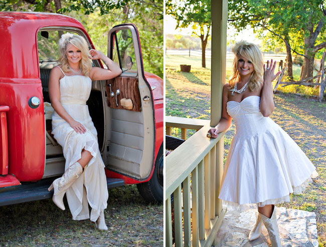 everyone is wearing cowgirl boots How perfect for a country wedding
