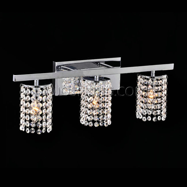 Otis Designs Chrome and Crystal 3-light Round Shade Wall Sconce