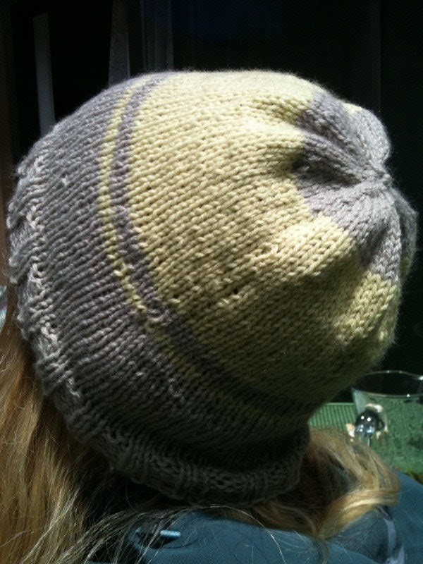 Gray and Yellow Knit Hat