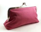 SALE/Ready to Ship/Honeysuckle Pink Linen Clutch Handbag - Eyelah