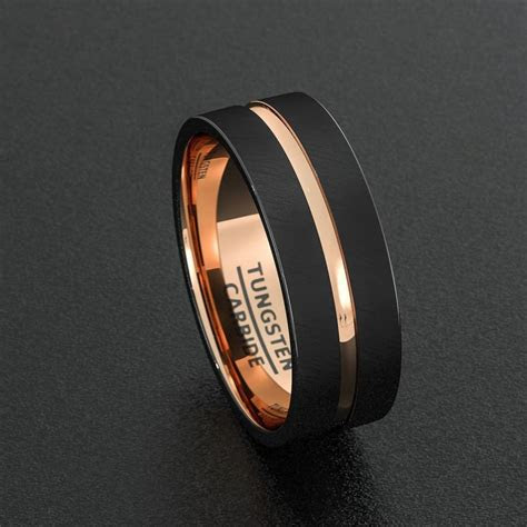 mens wedding band tungsten ring  tone mm black brushed