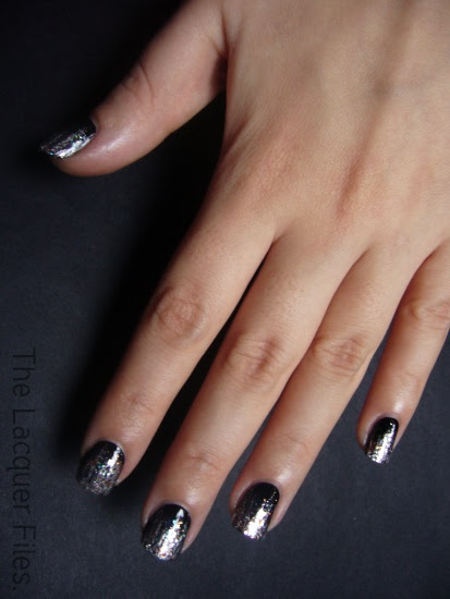 Diamond Cosmetics I'm Raven About You China Glaze Spellbound Misa Confection Section Essie Silver Bullions Glitter Manicure Nail Design