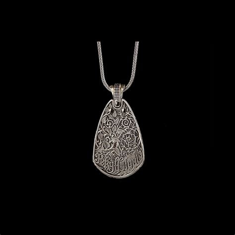 guitar pick pendant  sterling silver  sterling chain