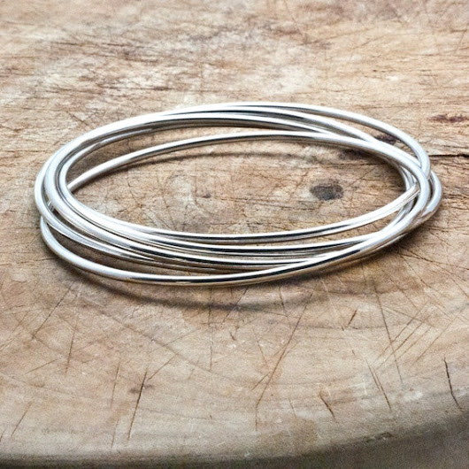 Bracelet Bangle Set Sterling Silver 5 by PiscesAndFishes on Etsy