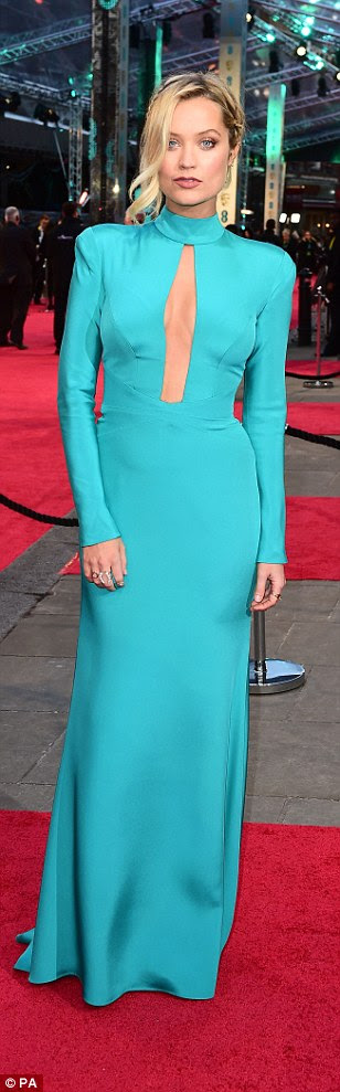 Beautiful in blue: TV presenter Laura Whitmorewas one of the first on the red carpet at the EE BAFTA Film Awards