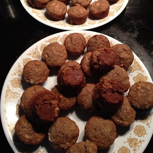 109/366 Nutella Banana Peanut Chip mini muffins