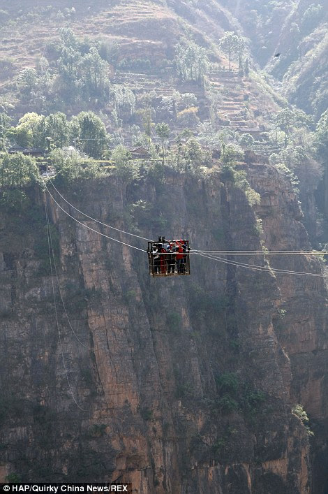 The ropeway is 360 metres above the Jinsha River