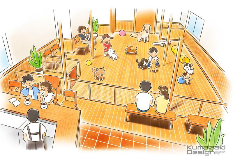 K24 室内ドックラン ペットショップの絵 犬のイラスト
