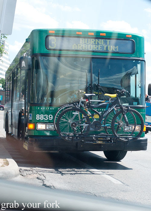 bike-friendly buses at whole foods market flagship store supermarket groceries austin texas