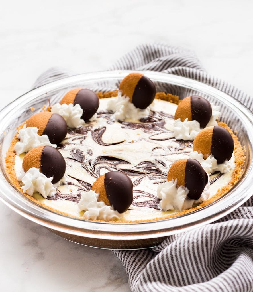 Chocolate marble cheesecake pie with nilla wafer crust. | www.ifyougiveablondeakitchen.com