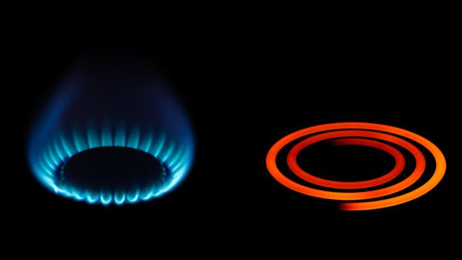 Un quemador a gas y otro eléctrico