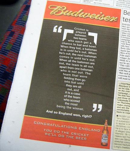 Budweiser Ad Celebrating England winning The Ashes