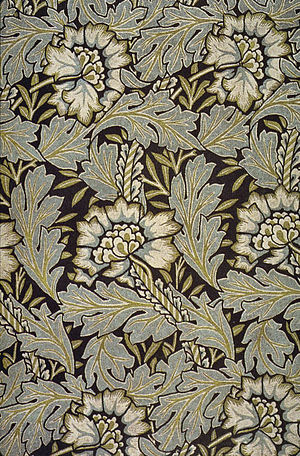 Anemone jacquard-woven silk and wool or silk d...