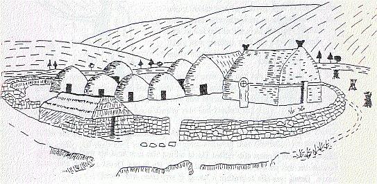 croquis de fondation monastique dans l'Orthodoxie Celtique au temps de saint David, patron du Pays de Galles