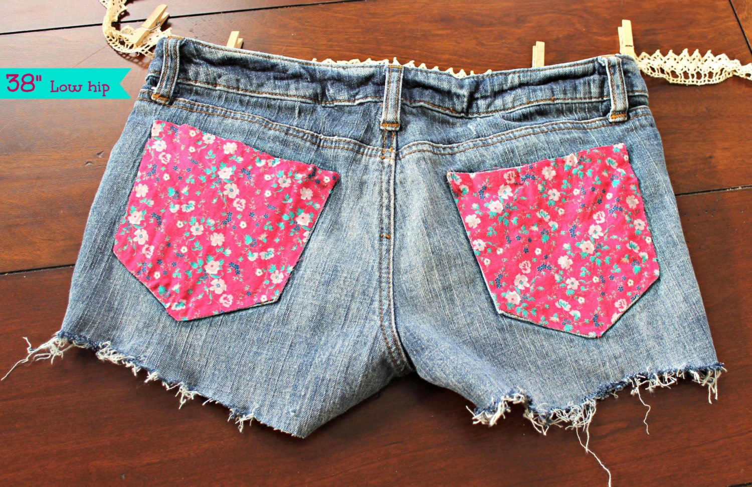 "Size 3/4 Low 38"" Waisted Cutoffs -  Pink Floral Pockets, Dark Denim Wash"
