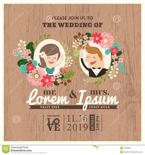 Wedding Invitation Card With Cute Groom And Bride Cartoon