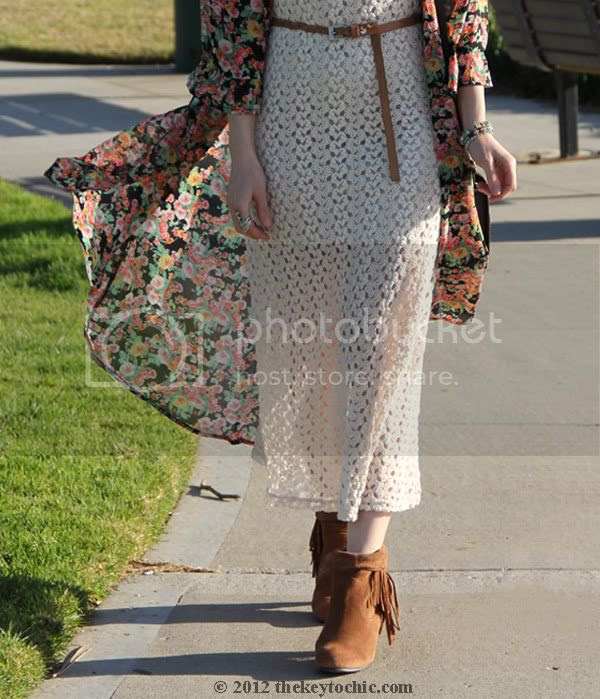 Unif the robe in bouquet, crochet dress, Bakers Showdown boots, Los Angeles fashion blog, southern California fashion blog