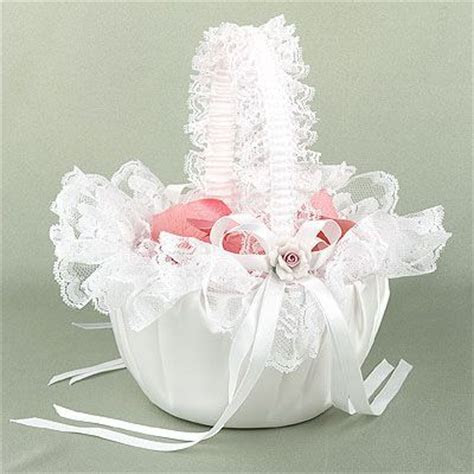 Beatiful Satin White 3d Roses Lace Flower Girl Baskets For