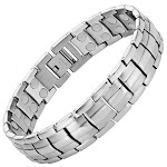 Men's Powerful Magnetic Therapy Bracelet Silver Stainless Steel Chain