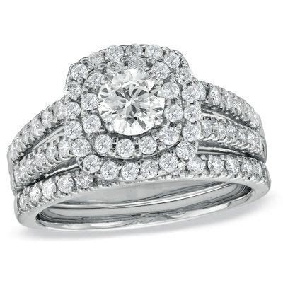 1 1/2 CT. T.W. Diamond Double Frame Bridal Set in 14K