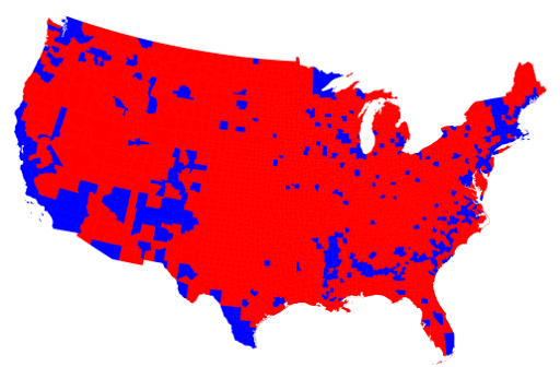 Image result for us 2016 election results by county map
