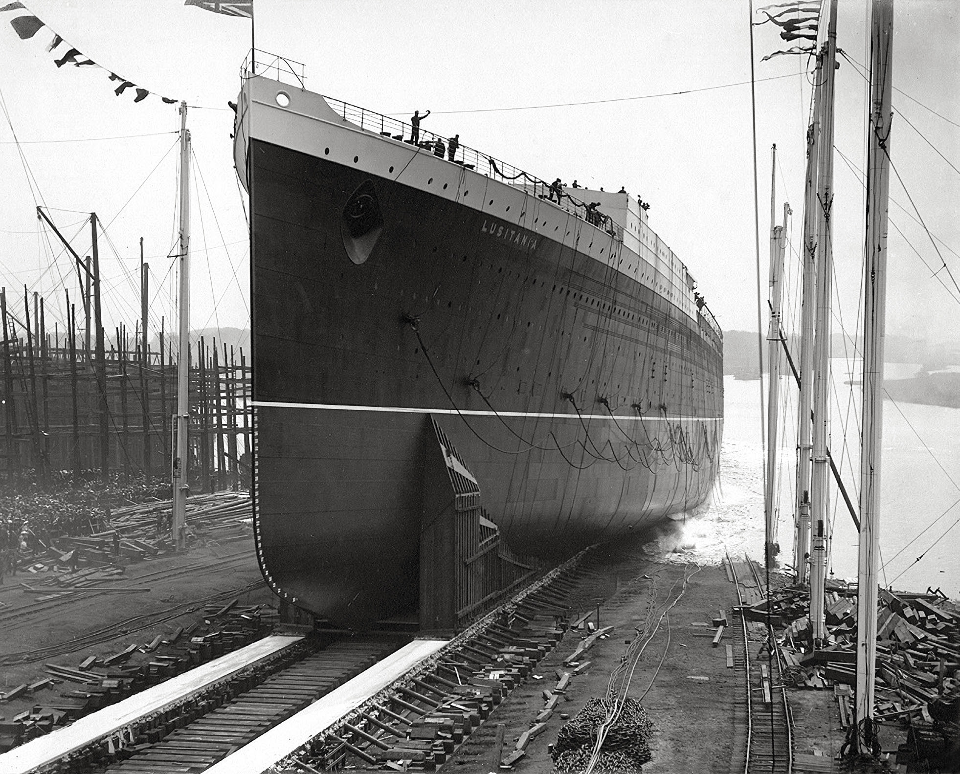 RMS Lusitania carried munitions across the pond. Here her launch.