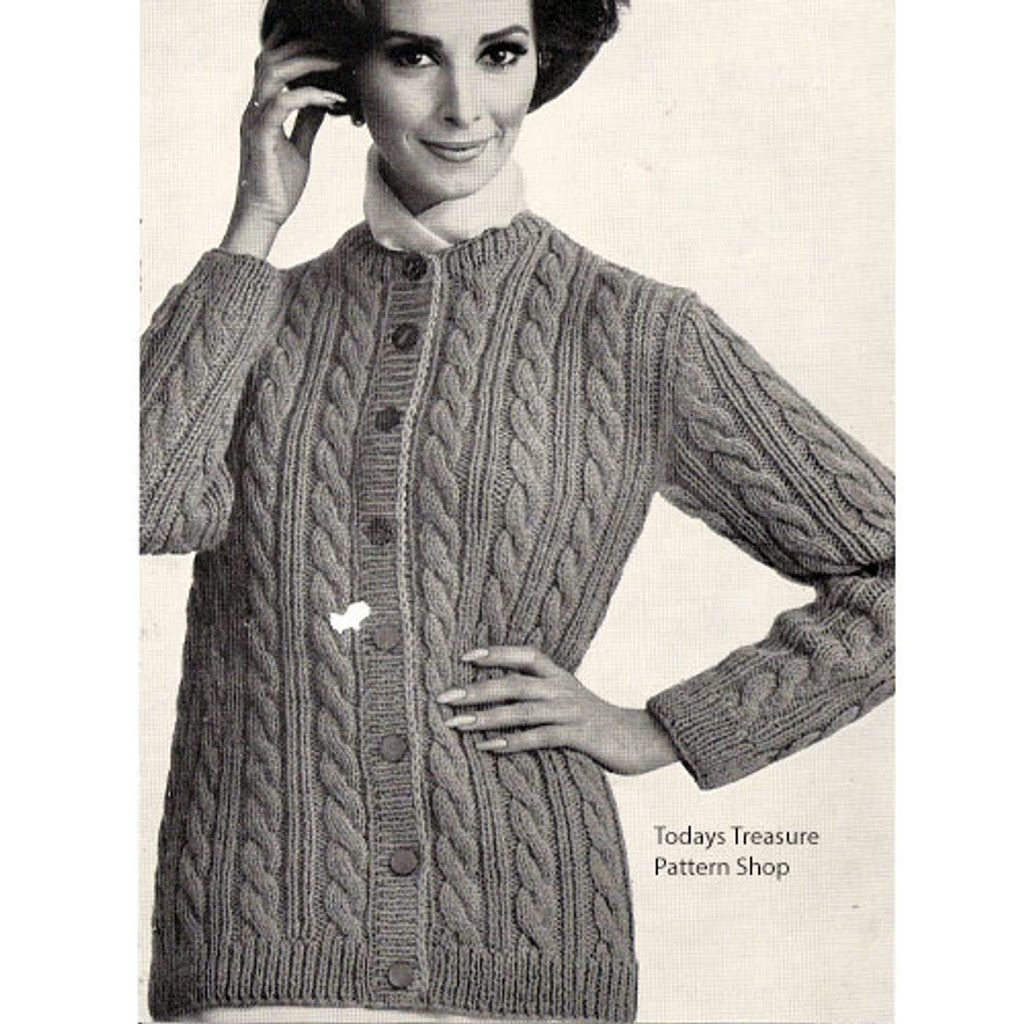 Knitted Pattern, Womens Cable Cardigan