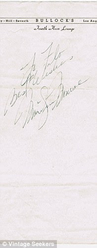 1950s Marilyn Monroe Handwritten Note with Signature £4,950.00