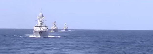 Boats from Russia's Caspian Flotilla
