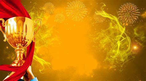Brilliant Fireworks Ribbon Golden Trophy Background