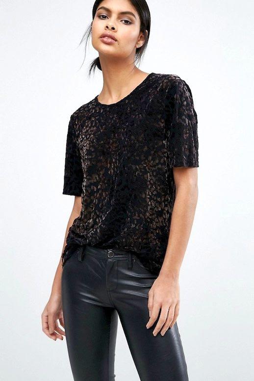 Le Fashion Blog Fall Style Low Bun Budget Black Velvet Tee Leather Pants