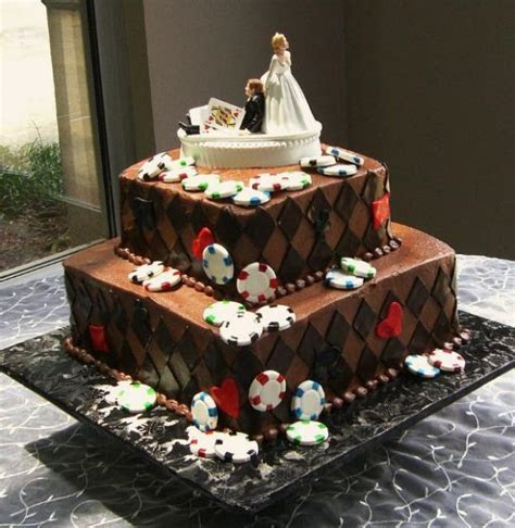 Two tier chocolate poker theme wedding cake