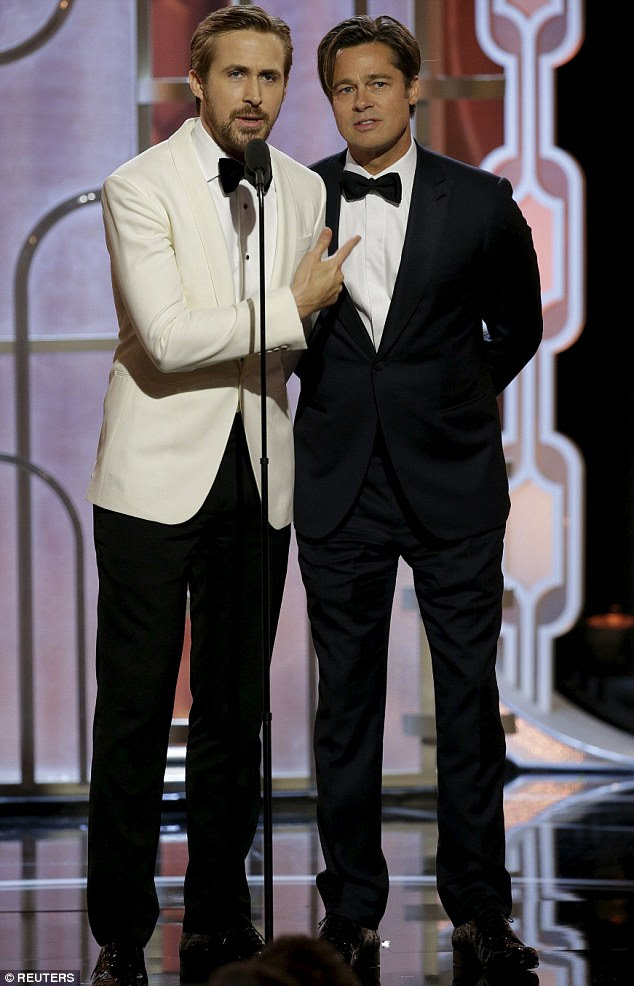 A Morecambe And Wise decision: Producers will be pleased with the comical display Ryan Gosling and Brad Pitt put on at the Golden Globes on Sunday