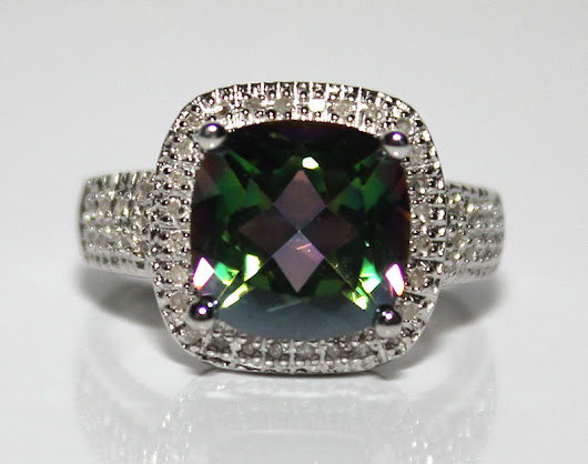 Gorgeous Brand New 4.26ct Natural Mystic Gemstone & Diamond Platinum Over .925 Sterling Silver Ring