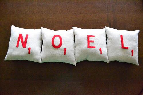 Noel Scrabble Pillows