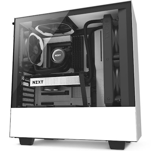 NZXT H500 Tempered Glass Mid Tower Case, White/Black