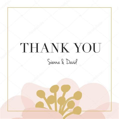 Thank you wedding card with one big flower. ? Stock Vector