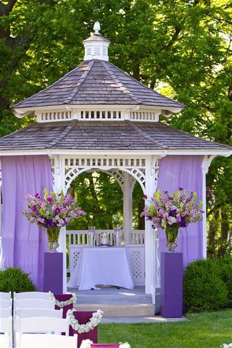 Purple Fabric on Gazebo Altar   Wedding Inspiration