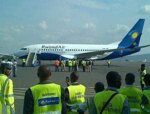 RwandAir's seconf 737-700 in Kigali (Rwandair)