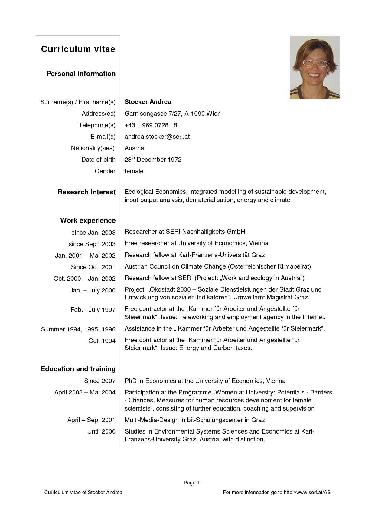 modelo de curriculum vitae pdf
