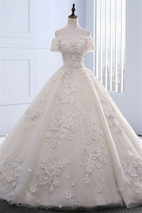Ivory strapless sweep train off shoulder lace wedding