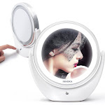 INNOKA Rechargeable Adjustable Light Double Sided LED Makeup Mirror 360 Degree Swivel Rotation 1X/5X