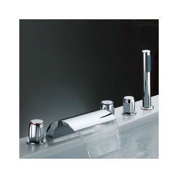 Waterfall Tub Faucet with Hand Shower (Three Handles) F7013 ...