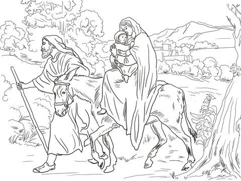 Dibujo De Maria Y Jose En El Exodo De Egipto Para Colorear Dibujos