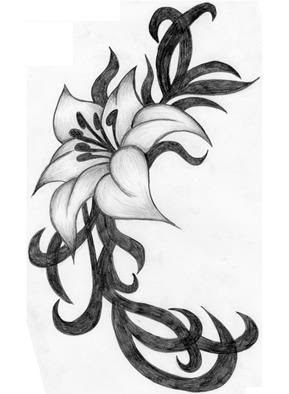 Tribal And Flower Tattoo Design For Girls