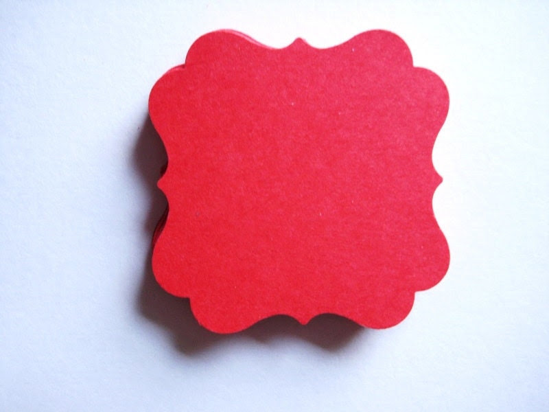 25 Red Tags journal gift  party favor scrapbooking noE1417